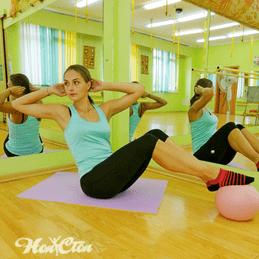 Тренировка по системе пилатес в витебском фитнес клубе Нон-стоп